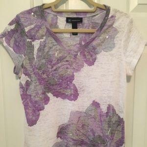 Pretty  Floral Top Shirt Blouse  by INC sz. L